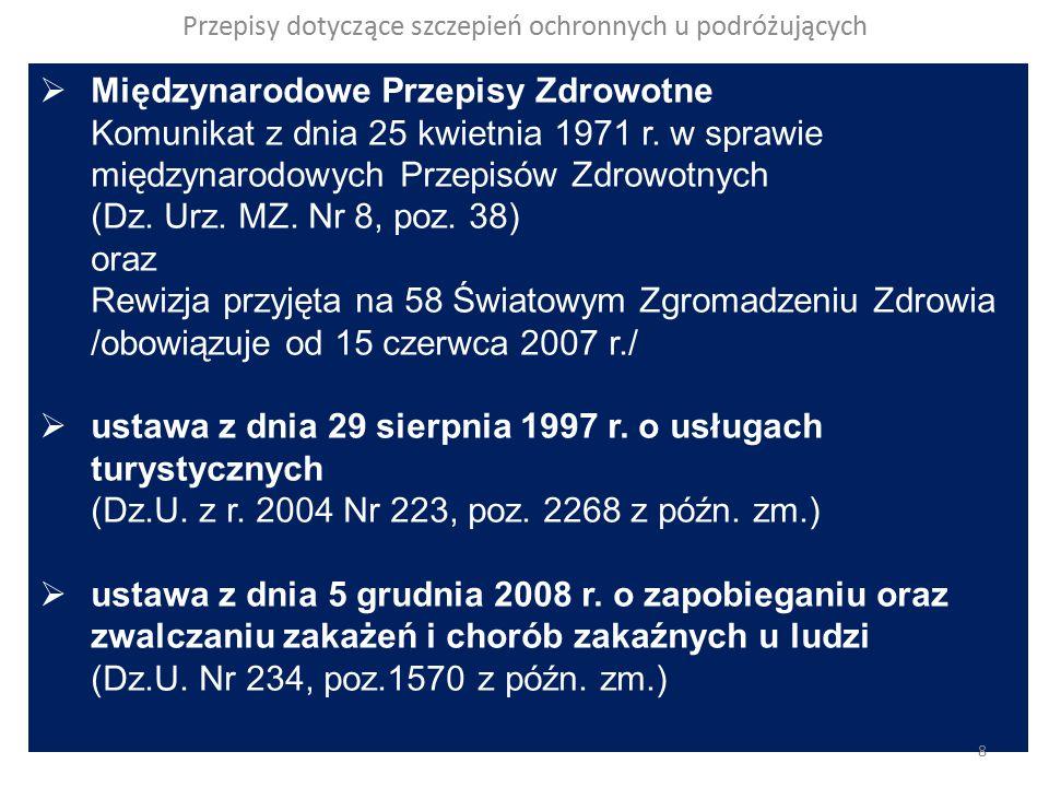 Przepisy dotyczące szczepień ochronnych u podróżujących Ustawa z dnia 29 sierpnia 1997 r.