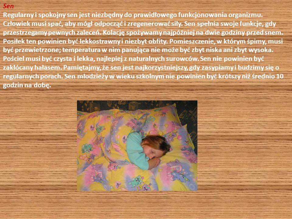 Sen Regularny i spokojny sen jest niezbędny do prawidłowego funkcjonowania organizmu. Człowiek musi spać, aby mógł odpocząć i zregenerować siły. Sen s