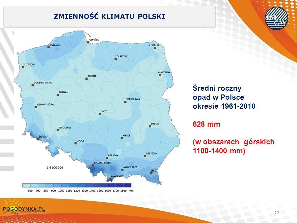 22 ZMIENNOŚĆ KLIMATU POLSKI Średni roczny opad w Polsce okresie 1961-2010 628 mm (w obszarach górskich 1100-1400 mm)