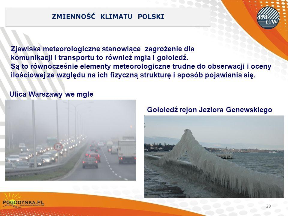 29 ZMIENNOŚĆ KLIMATU POLSKI Zjawiska meteorologiczne stanowiące zagrożenie dla komunikacji i transportu to również mgła i gołoledź. Są to równocześnie