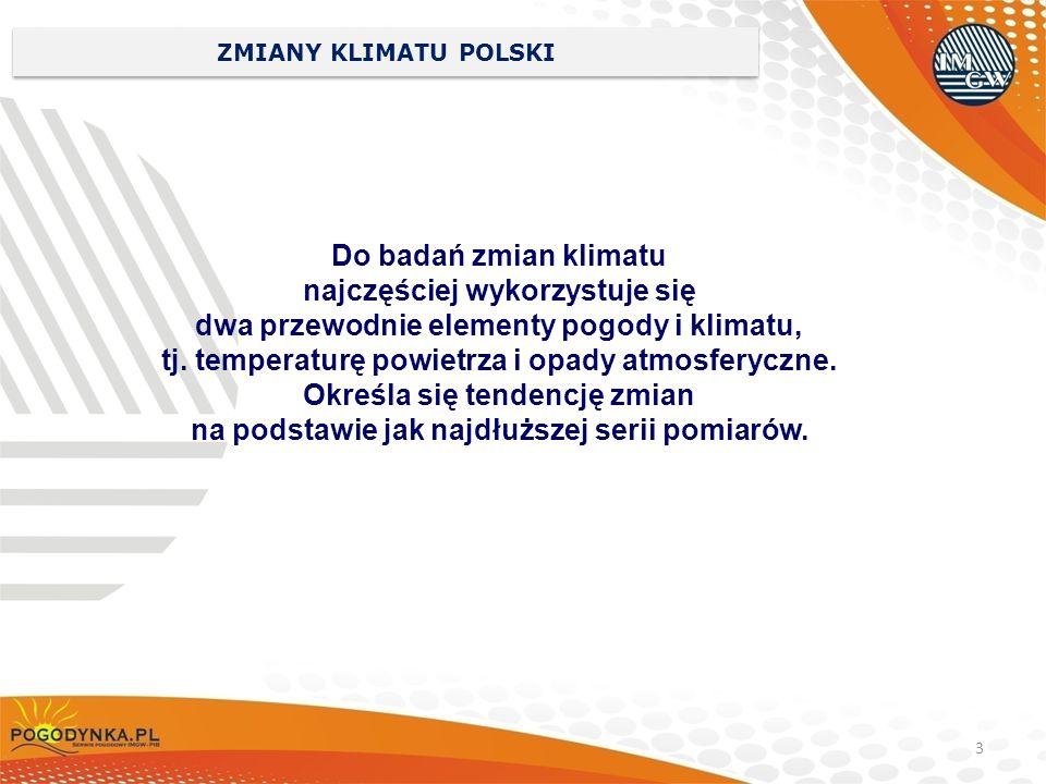 3 ZMIANY KLIMATU POLSKI Do badań zmian klimatu najczęściej wykorzystuje się dwa przewodnie elementy pogody i klimatu, tj. temperaturę powietrza i opad