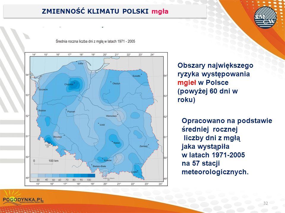 32 ZMIENNOŚĆ KLIMATU POLSKI mgła Opracowano na podstawie średniej rocznej liczby dni z mgłą jaka wystąpiła w latach 1971-2005 na 57 stacji meteorologi