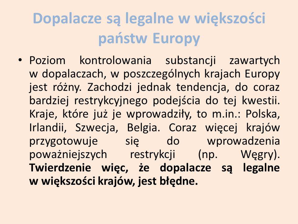 Dopalacze są legalne w większości państw Europy Poziom kontrolowania substancji zawartych w dopalaczach, w poszczególnych krajach Europy jest różny.