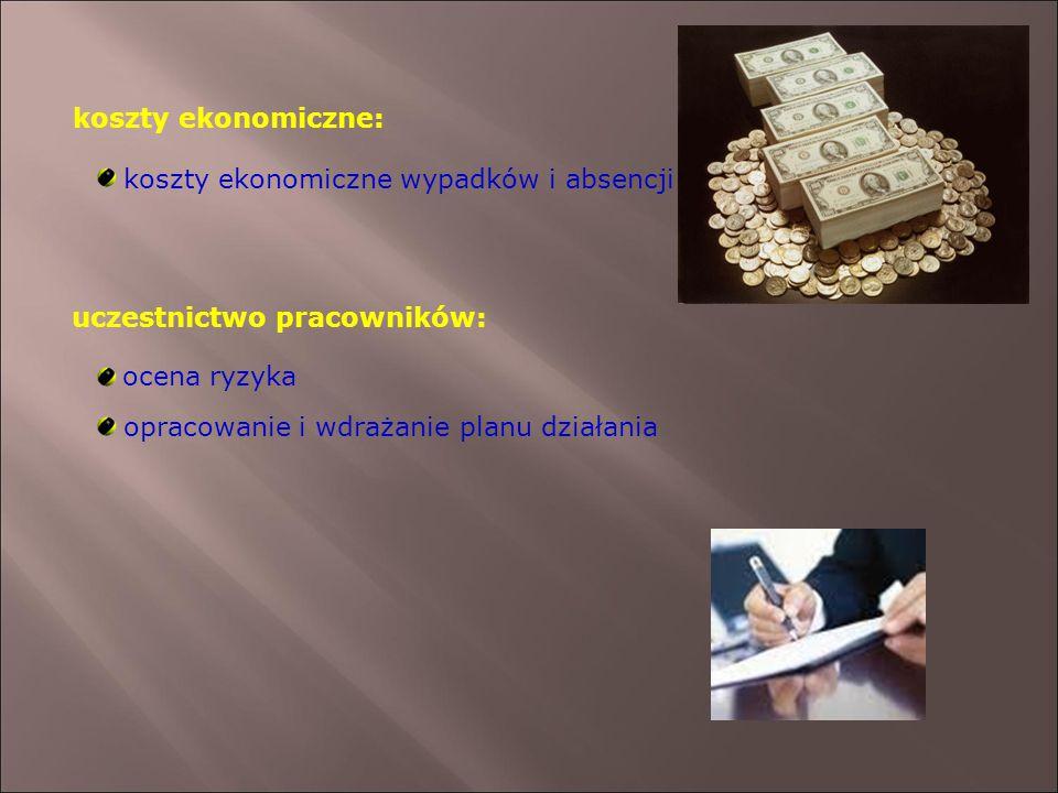 koszty ekonomiczne: uczestnictwo pracowników: koszty ekonomiczne wypadków i absencji ocena ryzyka opracowanie i wdrażanie planu działania