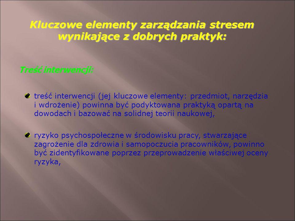 Kluczowe elementy zarządzania stresem wynikające z dobrych praktyk: Treść interwencji: treść interwencji (jej kluczowe elementy: przedmiot, narzędzia