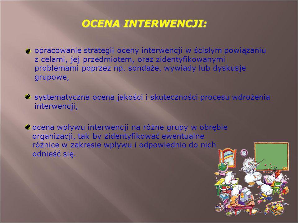 OCENA INTERWENCJI: opracowanie strategii oceny interwencji w ścisłym powiązaniu z celami, jej przedmiotem, oraz zidentyfikowanymi problemami poprzez np.