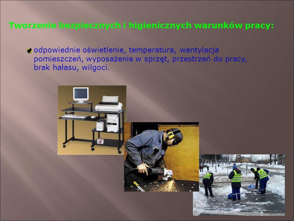 Tworzenie bezpiecznych i higienicznych warunków pracy: odpowiednie oświetlenie, temperatura, wentylacja pomieszczeń, wyposażenie w sprzęt, przestrzeń do pracy, brak hałasu, wilgoci.