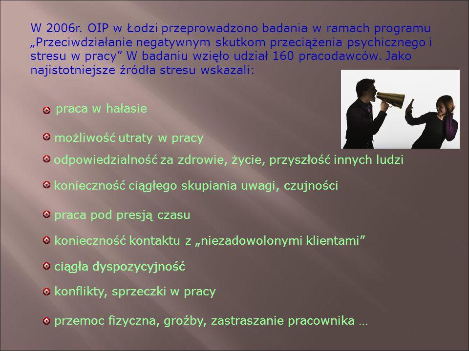"""W 2006r. OIP w Łodzi przeprowadzono badania w ramach programu """"Przeciwdziałanie negatywnym skutkom przeciążenia psychicznego i stresu w pracy"""" W badan"""