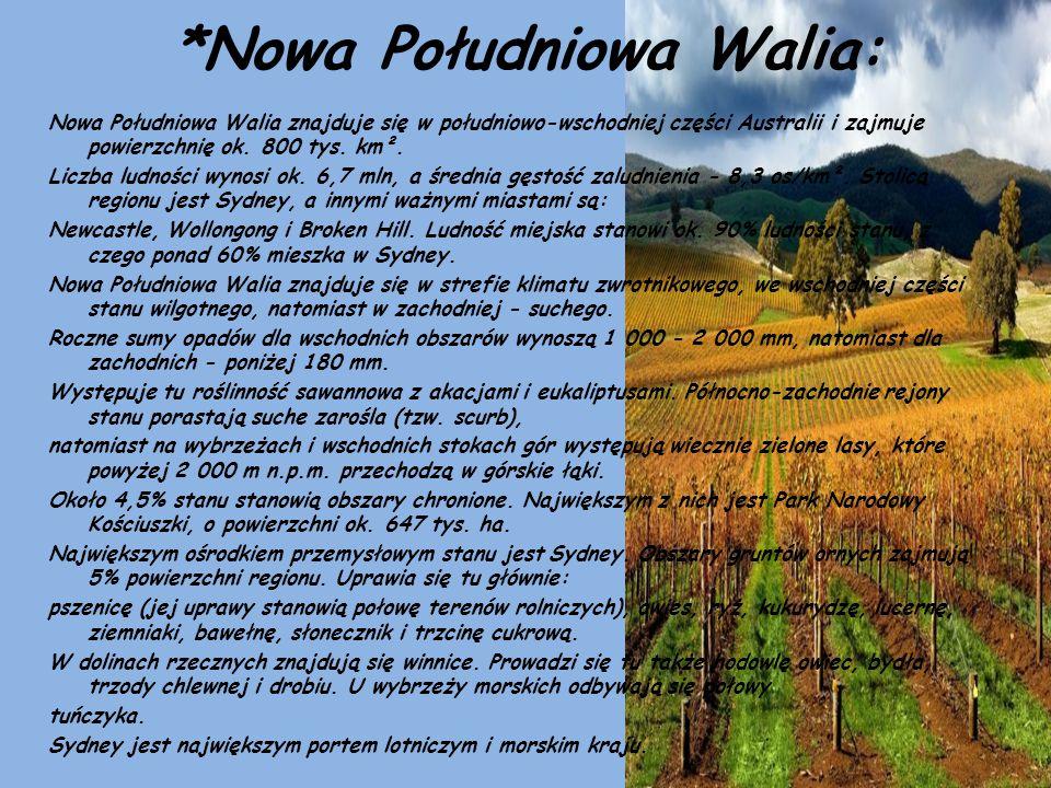 *Nowa Południowa Walia: Nowa Południowa Walia znajduje się w południowo-wschodniej części Australii i zajmuje powierzchnię ok. 800 tys. km². Liczba lu