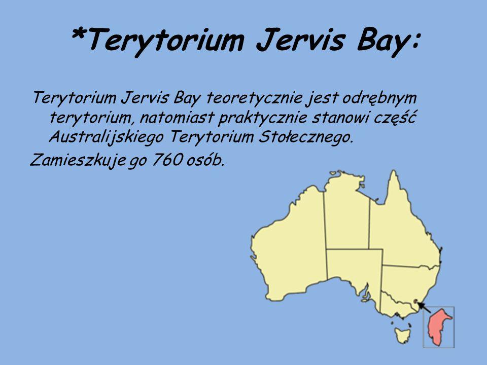 *Terytorium Jervis Bay: Terytorium Jervis Bay teoretycznie jest odrębnym terytorium, natomiast praktycznie stanowi część Australijskiego Terytorium St