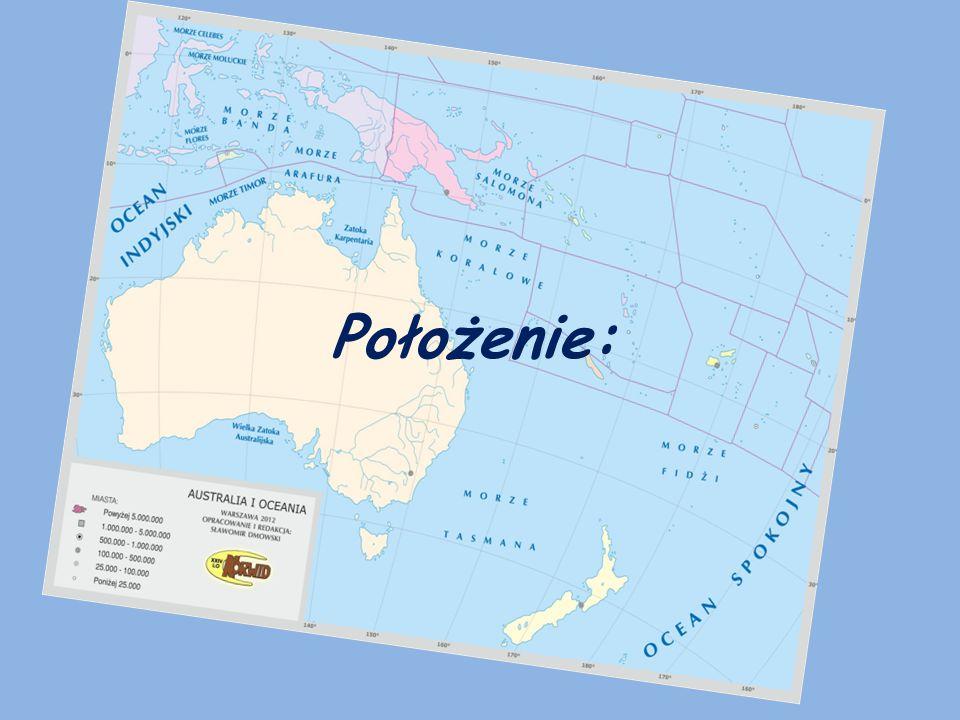 Australia – najmniejszy pod względem wielkości kontynent, jego powierzchnia (wraz z Tasmanią i innymi wyspami przybrzeżnymi) wynosi 7,7 mln km² (7,5 mln km² bez wysp).