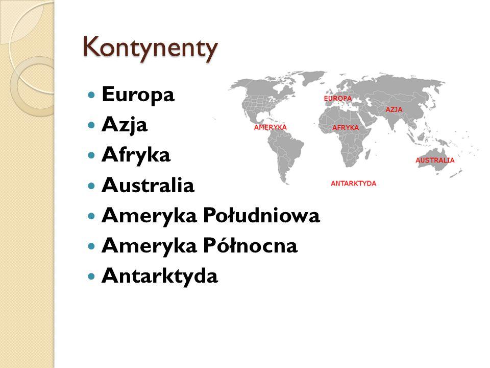 Kontynenty Europa Azja Afryka Australia Ameryka Południowa Ameryka Północna Antarktyda