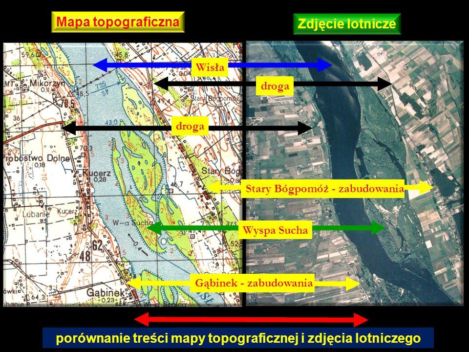 Wisła Wyspa Sucha Stary Bógpomóż - zabudowania droga Gąbinek - zabudowania porównanie treści mapy topograficznej i zdjęcia lotniczego Mapa topograficz