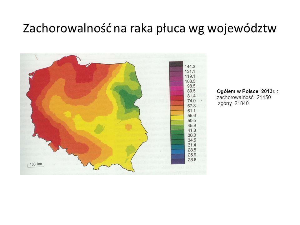 Zachorowalność na raka płuca wg województw Ogółem w Polsce 2013r.
