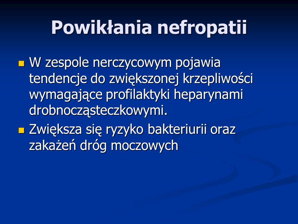 Powikłania nefropatii W zespole nerczycowym pojawia tendencje do zwiększonej krzepliwości wymagające profilaktyki heparynami drobnocząsteczkowymi.