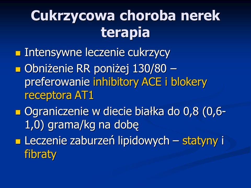 Cukrzycowa choroba nerek terapia Intensywne leczenie cukrzycy Intensywne leczenie cukrzycy Obniżenie RR poniżej 130/80 – preferowanie inhibitory ACE i blokery receptora AT1 Obniżenie RR poniżej 130/80 – preferowanie inhibitory ACE i blokery receptora AT1 Ograniczenie w diecie białka do 0,8 (0,6- 1,0) grama/kg na dobę Ograniczenie w diecie białka do 0,8 (0,6- 1,0) grama/kg na dobę Leczenie zaburzeń lipidowych – statyny i fibraty Leczenie zaburzeń lipidowych – statyny i fibraty
