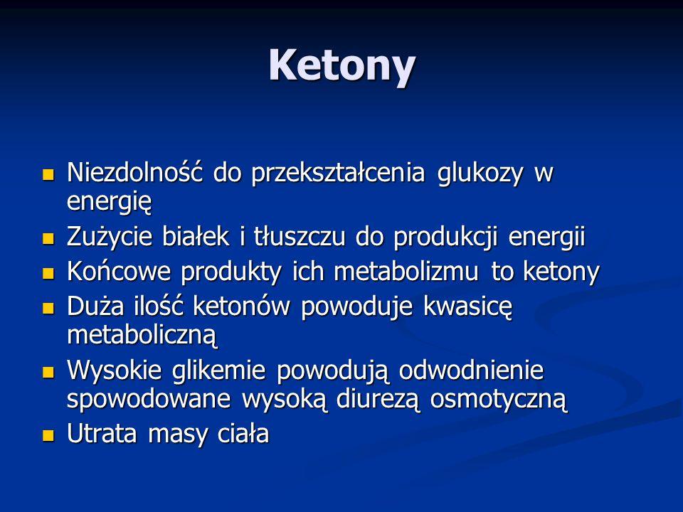 Ketony Niezdolność do przekształcenia glukozy w energię Niezdolność do przekształcenia glukozy w energię Zużycie białek i tłuszczu do produkcji energii Zużycie białek i tłuszczu do produkcji energii Końcowe produkty ich metabolizmu to ketony Końcowe produkty ich metabolizmu to ketony Duża ilość ketonów powoduje kwasicę metaboliczną Duża ilość ketonów powoduje kwasicę metaboliczną Wysokie glikemie powodują odwodnienie spowodowane wysoką diurezą osmotyczną Wysokie glikemie powodują odwodnienie spowodowane wysoką diurezą osmotyczną Utrata masy ciała Utrata masy ciała
