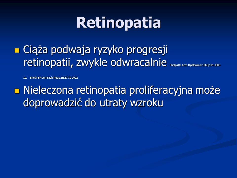Retinopatia Po 20 latach trwania cukrzycy większość pacjentów ma retinopatię cukrzycową Po 20 latach trwania cukrzycy większość pacjentów ma retinopatię cukrzycową Konieczność oceny dna oka przed ciążą Konieczność oceny dna oka przed ciążą Konieczna stabilizacja zmian (laseroterapia) przed planowaną ciążą oraz obserwacja stabilności zmian przez 6-12 miesięcy Joslin's Diabetes Konieczna stabilizacja zmian (laseroterapia) przed planowaną ciążą oraz obserwacja stabilności zmian przez 6-12 miesięcy Joslin's Diabetes Ocena dna oka co 3 miesiące/co miesiąc w przypadku obserwowanej wcześniej retinopatii.