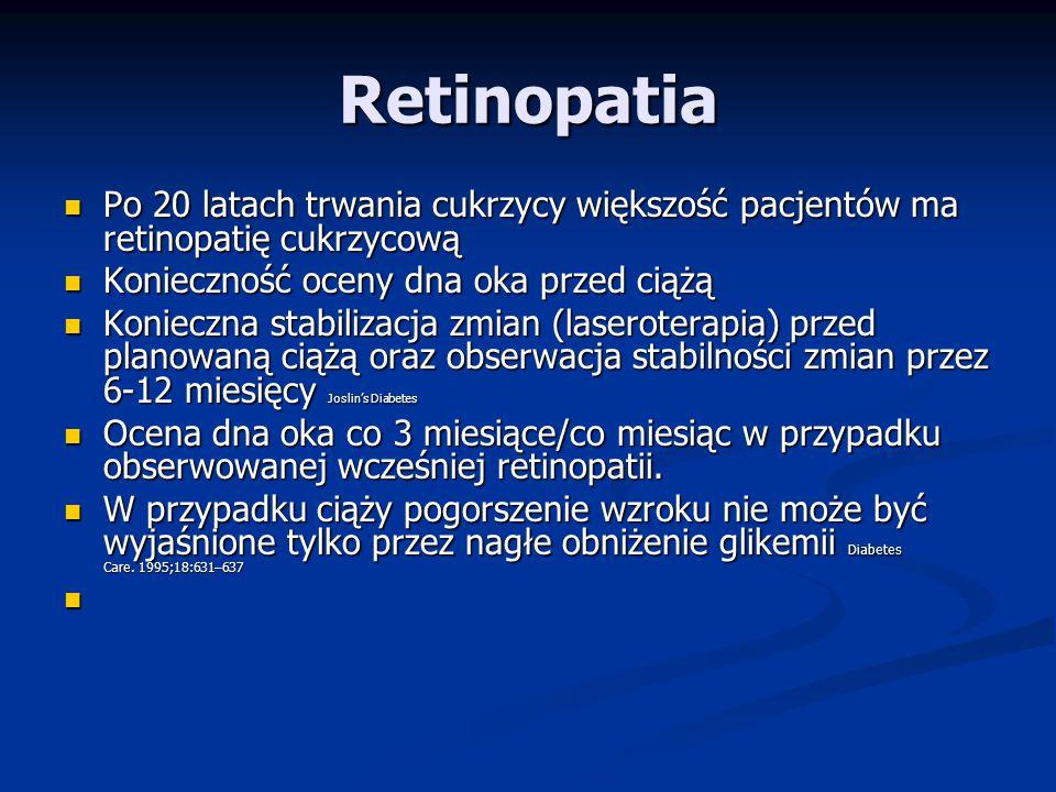 Kwasica ketonowa Ciążowa insulinooporność Ciążowa insulinooporność Zwiększona lipoliza i ketogeneza Zwiększona lipoliza i ketogeneza Zwiększona z tego powodu tendencja do kwasicy Zwiększona z tego powodu tendencja do kwasicy Może dotyczyć 1% ciężarnych z cukrzycą typ 1 Obst Gyn Clin North Am 2007; 34 533 Może dotyczyć 1% ciężarnych z cukrzycą typ 1 Obst Gyn Clin North Am 2007; 34 533