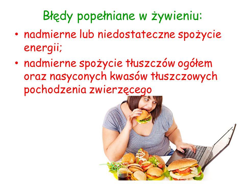 Błędy popełniane w żywieniu: nadmierne lub niedostateczne spożycie energii; nadmierne spożycie tłuszczów ogółem oraz nasyconych kwasów tłuszczowych po