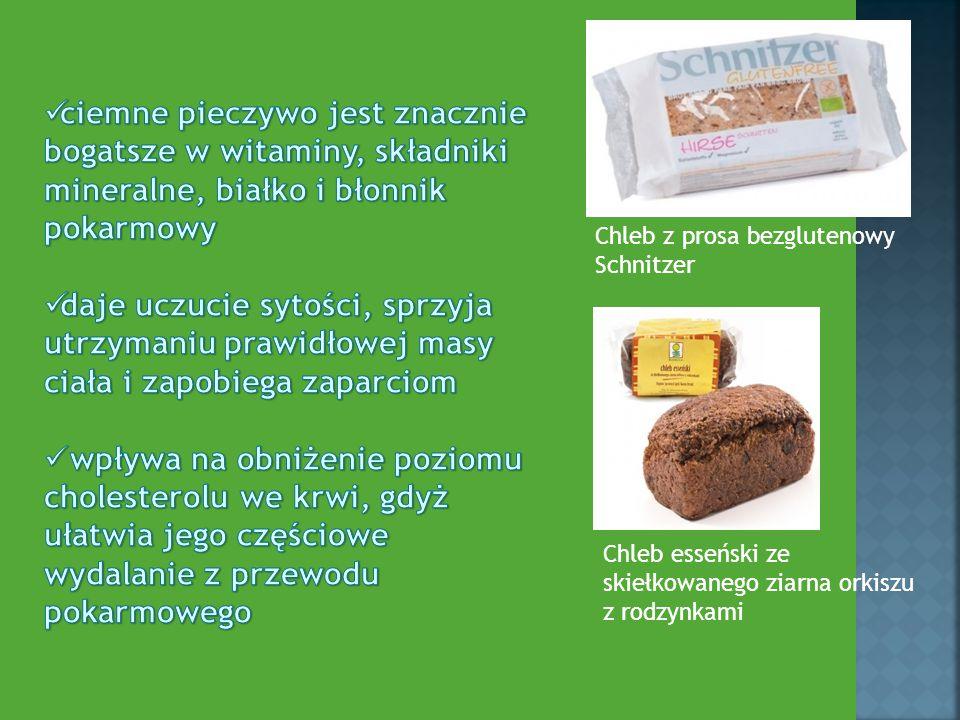 Chleb esseński ze skiełkowanego ziarna orkiszu z rodzynkami Chleb z prosa bezglutenowy Schnitzer