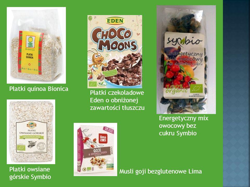 Płatki quinoa Bionica Płatki czekoladowe Eden o obniżonej zawartości tłuszczu Energetyczny mix owocowy bez cukru Symbio Płatki owsiane górskie Symbio