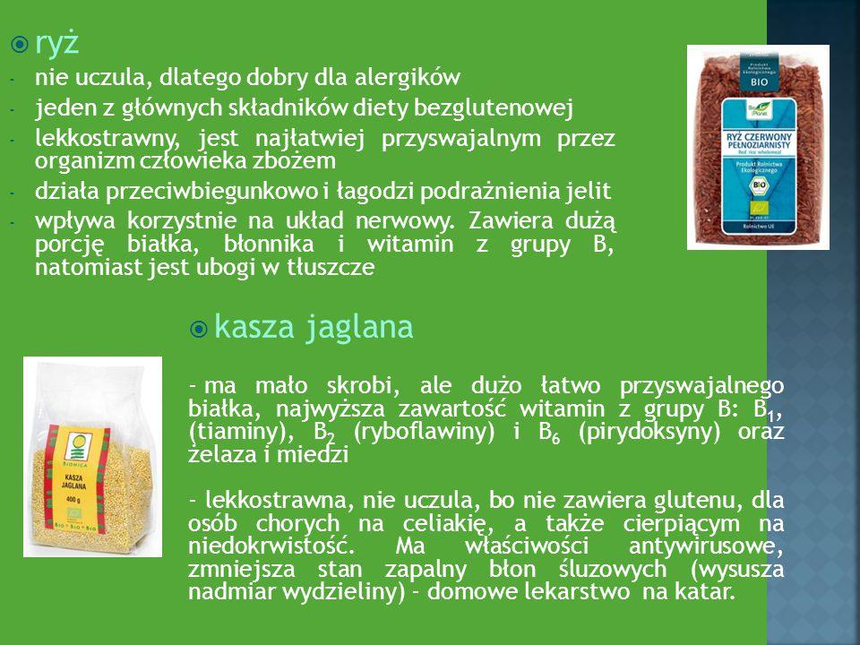  ryż - nie uczula, dlatego dobry dla alergików - jeden z głównych składników diety bezglutenowej - lekkostrawny, jest najłatwiej przyswajalnym przez