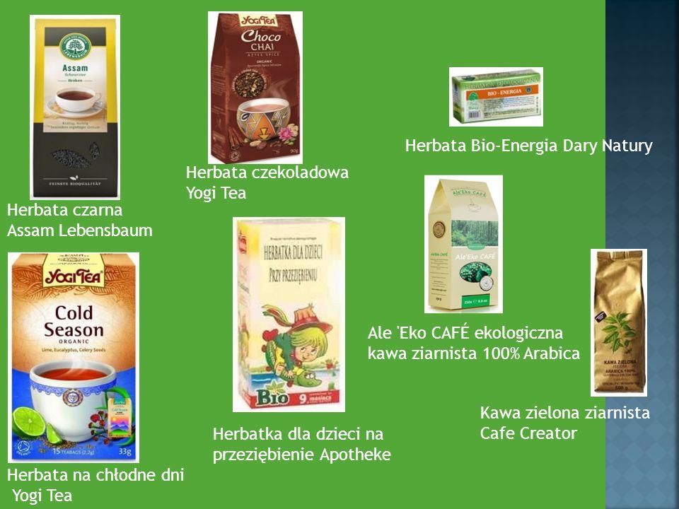 Herbata czarna Assam Lebensbaum Herbata czekoladowa Yogi Tea Herbata na chłodne dni Yogi Tea Herbata Bio-Energia Dary Natury Herbatka dla dzieci na pr