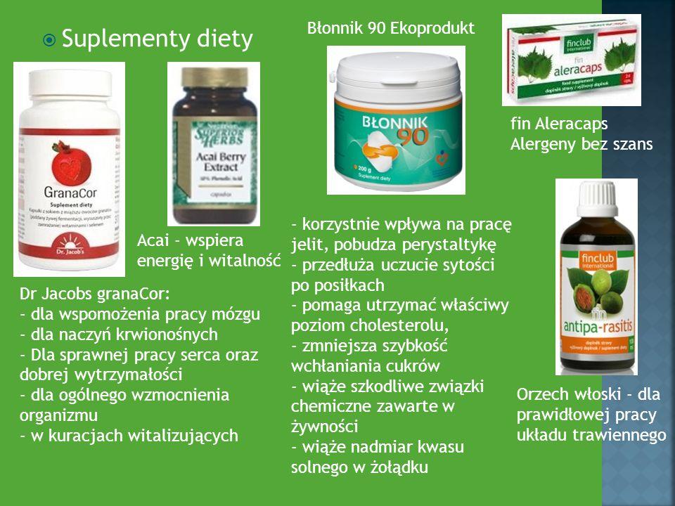  Suplementy diety fin Aleracaps Alergeny bez szans Acai - wspiera energię i witalność Orzech włoski - dla prawidłowej pracy układu trawiennego Dr Jac