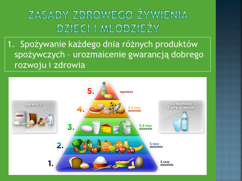 1. Spożywanie każdego dnia różnych produktów spożywczych – urozmaicenie gwarancją dobrego rozwoju i zdrowia