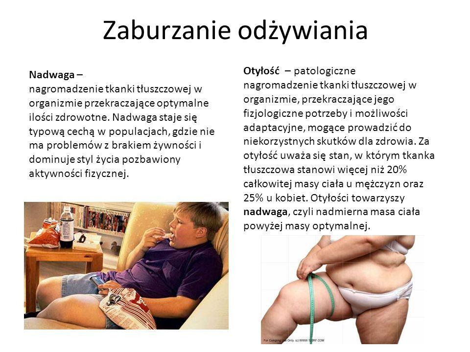 Zaburzanie odżywiania Nadwaga – nagromadzenie tkanki tłuszczowej w organizmie przekraczające optymalne ilości zdrowotne. Nadwaga staje się typową cech