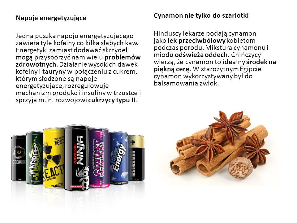 Napoje energetyzujące Jedna puszka napoju energetyzującego zawiera tyle kofeiny co kilka słabych kaw. Energetyki zamiast dodawać skrzydeł mogą przyspo
