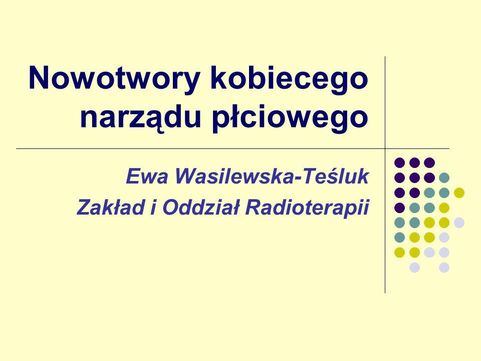 Nowotwory kobiecego narządu płciowego Ewa Wasilewska-Teśluk Zakład i Oddział Radioterapii