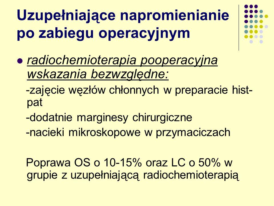 Uzupełniające napromienianie po zabiegu operacyjnym radiochemioterapia pooperacyjna wskazania bezwzględne: -zajęcie węzłów chłonnych w preparacie hist- pat -dodatnie marginesy chirurgiczne -nacieki mikroskopowe w przymaciczach Poprawa OS o 10-15% oraz LC o 50% w grupie z uzupełniającą radiochemioterapią
