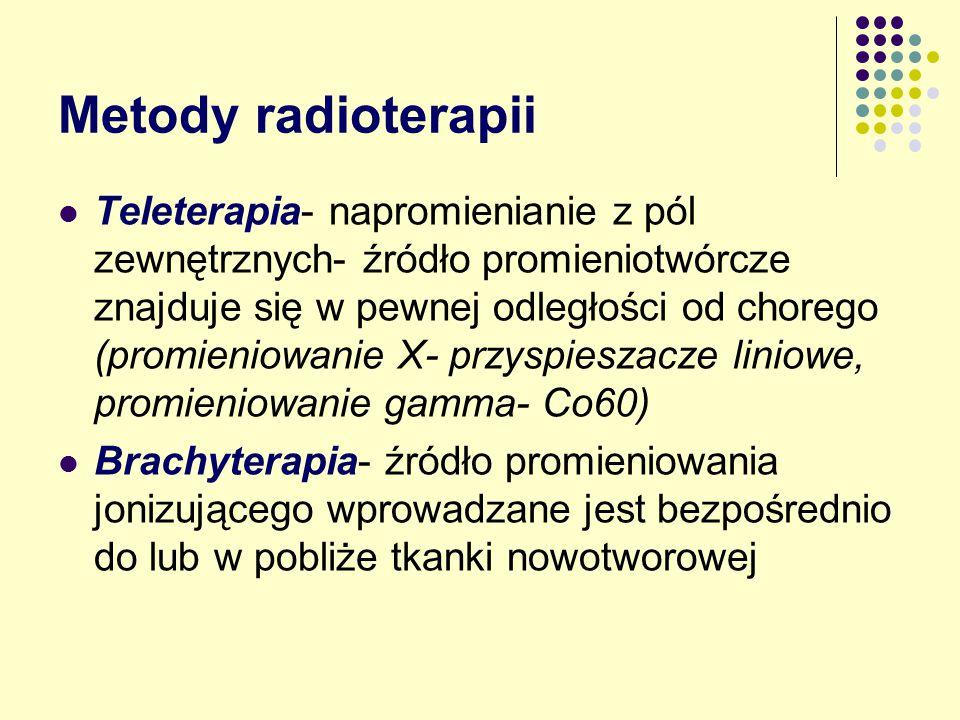 Metody radioterapii Teleterapia- napromienianie z pól zewnętrznych- źródło promieniotwórcze znajduje się w pewnej odległości od chorego (promieniowani
