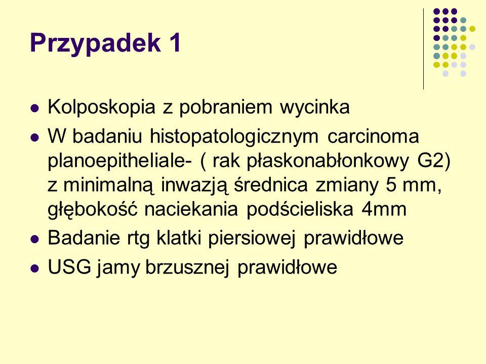 Przypadek 1 Kolposkopia z pobraniem wycinka W badaniu histopatologicznym carcinoma planoepitheliale- ( rak płaskonabłonkowy G2) z minimalną inwazją średnica zmiany 5 mm, głębokość naciekania podścieliska 4mm Badanie rtg klatki piersiowej prawidłowe USG jamy brzusznej prawidłowe