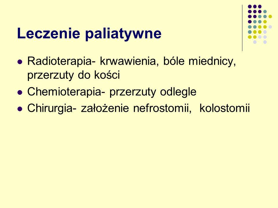 Leczenie paliatywne Radioterapia- krwawienia, bóle miednicy, przerzuty do kości Chemioterapia- przerzuty odlegle Chirurgia- założenie nefrostomii, kolostomii