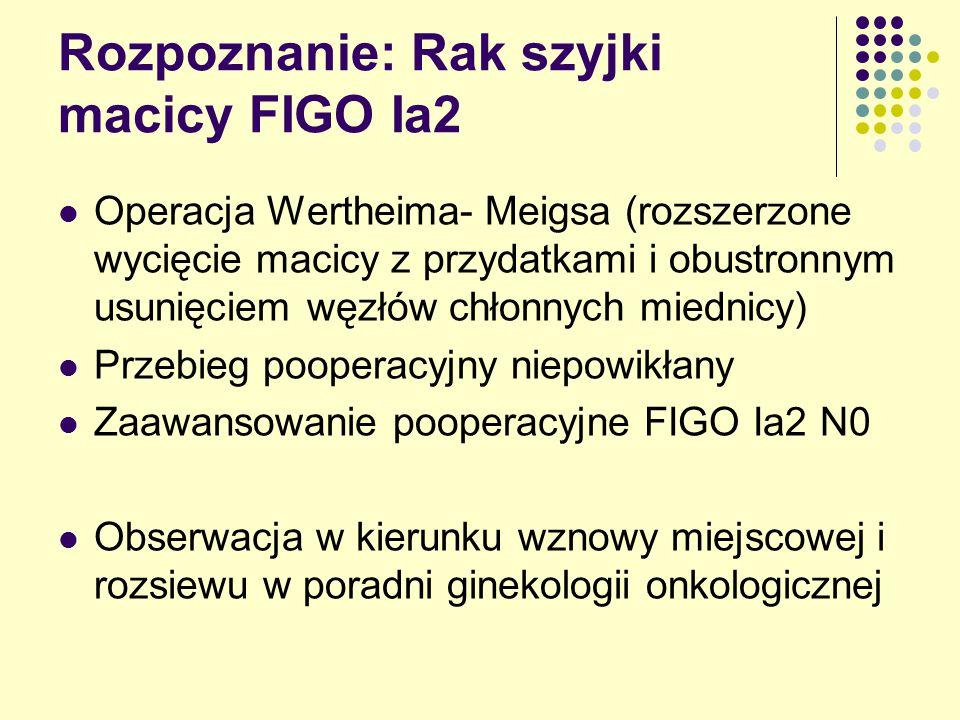 Rozpoznanie: Rak szyjki macicy FIGO Ia2 Operacja Wertheima- Meigsa (rozszerzone wycięcie macicy z przydatkami i obustronnym usunięciem węzłów chłonnych miednicy) Przebieg pooperacyjny niepowikłany Zaawansowanie pooperacyjne FIGO Ia2 N0 Obserwacja w kierunku wznowy miejscowej i rozsiewu w poradni ginekologii onkologicznej
