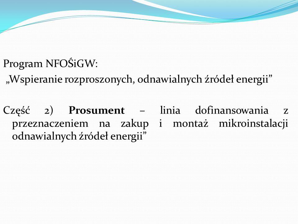 """Program NFOŚiGW: """"Wspieranie rozproszonych, odnawialnych źródeł energii Część 2) Prosument – linia dofinansowania z przeznaczeniem na zakup i montaż mikroinstalacji odnawialnych źródeł energii"""