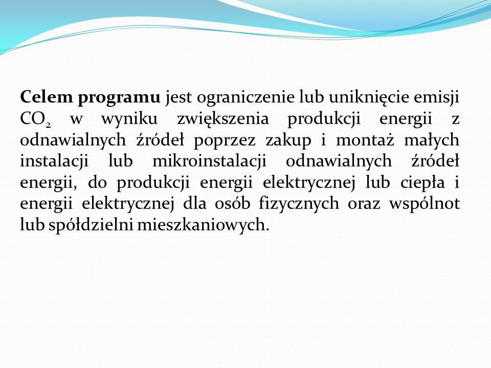 Celem programu jest ograniczenie lub uniknięcie emisji CO 2 w wyniku zwiększenia produkcji energii z odnawialnych źródeł poprzez zakup i montaż małych instalacji lub mikroinstalacji odnawialnych źródeł energii, do produkcji energii elektrycznej lub ciepła i energii elektrycznej dla osób fizycznych oraz wspólnot lub spółdzielni mieszkaniowych.