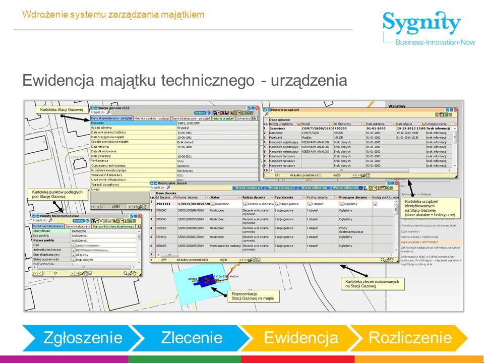 Wdrożenie systemu zarządzania majątkiem Ewidencja majątku technicznego - urządzenia ZgłoszenieZlecenieEwidencjaRozliczenie