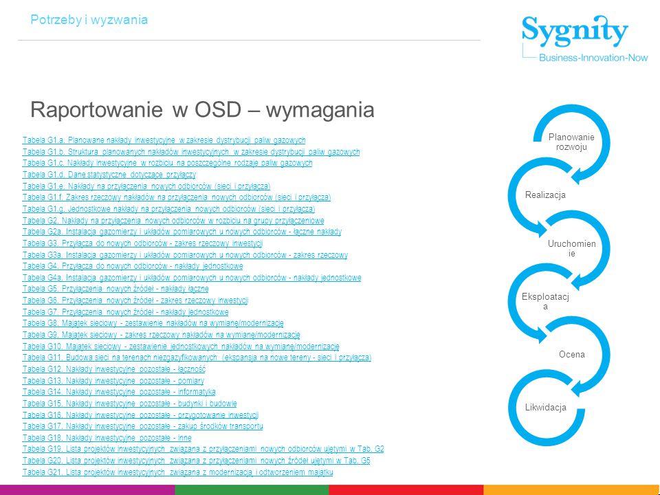 Potrzeby i wyzwania Raportowanie w OSD – wymagania Tabela G1.a.