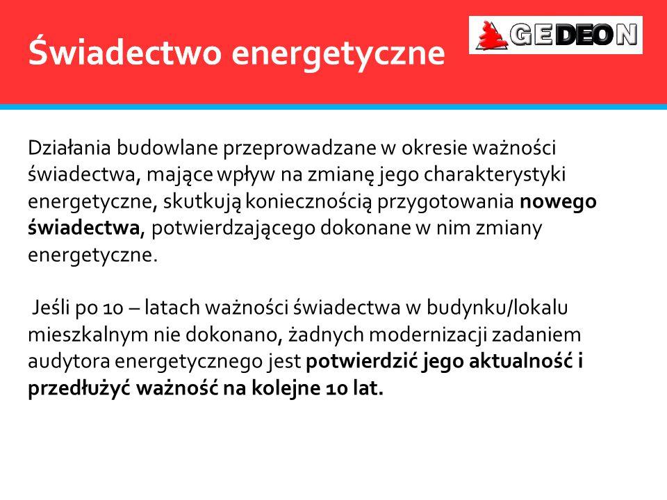 Świadectwo Działania budowlane przeprowadzane w okresie ważności świadectwa, mające wpływ na zmianę jego charakterystyki energetyczne, skutkują koniec