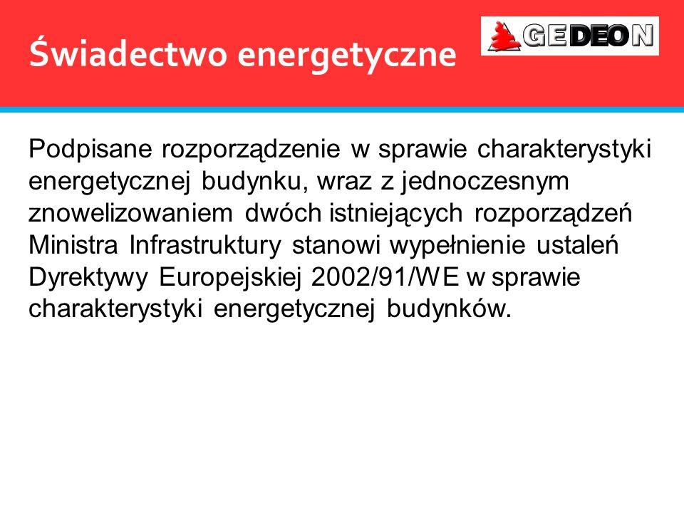 Świadectwo energetyczne Podpisane rozporządzenie w sprawie charakterystyki energetycznej budynku, wraz z jednoczesnym znowelizowaniem dwóch istniejący