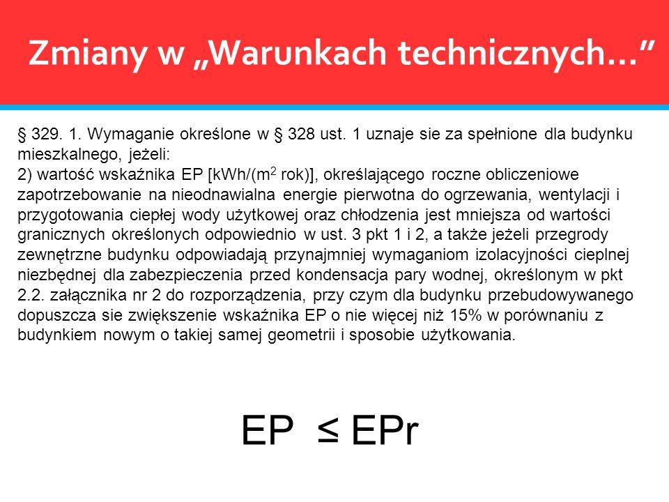 § 329. 1. Wymaganie określone w § 328 ust. 1 uznaje sie za spełnione dla budynku mieszkalnego, jeżeli: 2) wartość wskaźnika EP [kWh/(m 2 rok)], określ