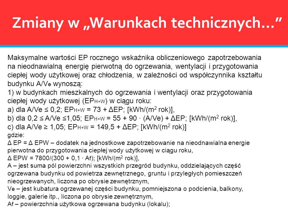Maksymalne wartości EP rocznego wskaźnika obliczeniowego zapotrzebowania na nieodnawialną energię pierwotną do ogrzewania, wentylacji i przygotowania