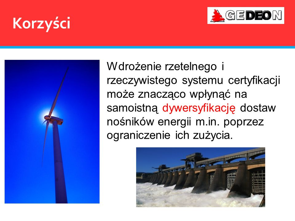 Korzyści Wdrożenie rzetelnego i rzeczywistego systemu certyfikacji może znacząco wpłynąć na samoistną dywersyfikację dostaw nośników energii m.in. pop