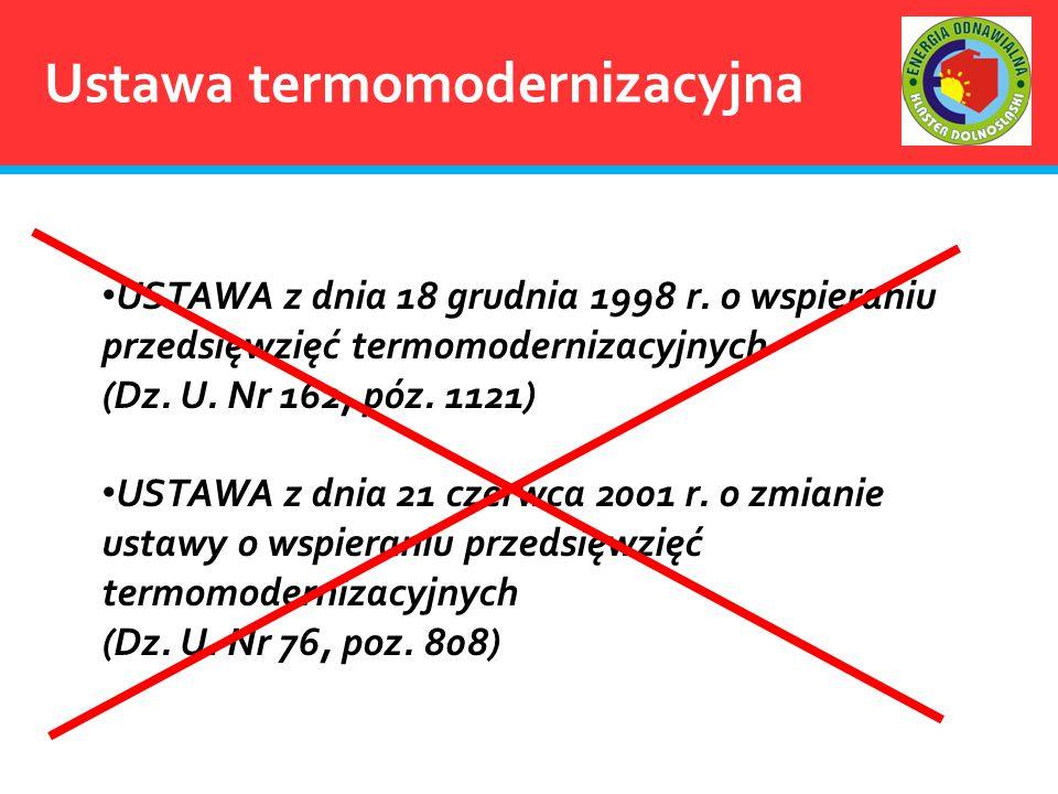 Ustawa termomodernizacyjna USTAWA z dnia 18 grudnia 1998 r. o wspieraniu przedsięwzięć termomodernizacyjnych (Dz. U. Nr 162, póz. 1121) USTAWA z dnia