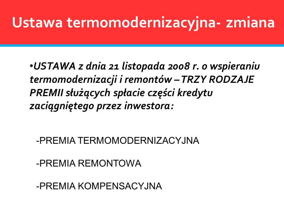 Ustawa termomodernizacyjna- zmiana USTAWA z dnia 21 listopada 2008 r. o wspieraniu termomodernizacji i remontów – TRZY RODZAJE PREMII służących spłaci