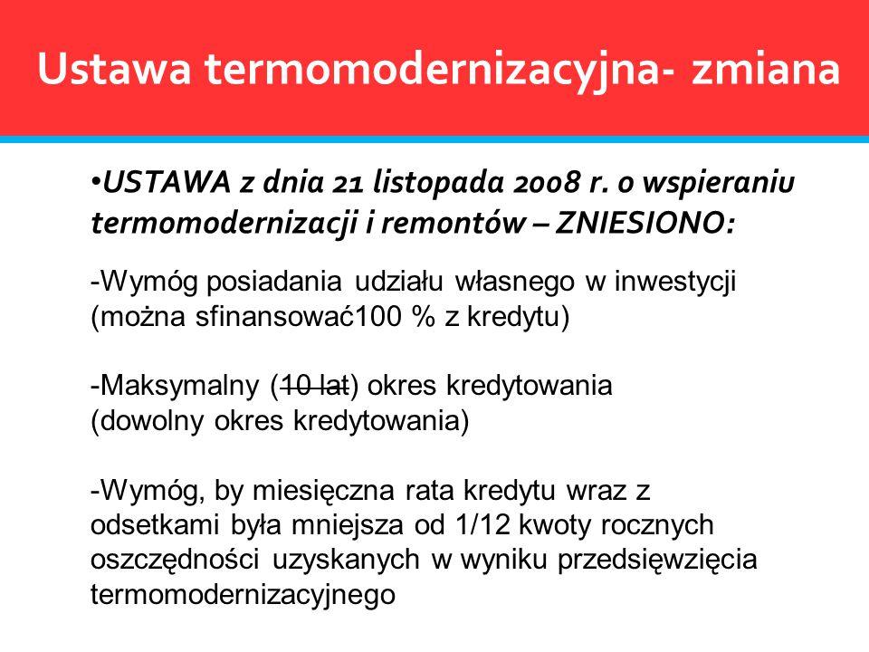Ustawa termomodernizacyjna- zmiana USTAWA z dnia 21 listopada 2008 r. o wspieraniu termomodernizacji i remontów – ZNIESIONO: -Wymóg posiadania udziału